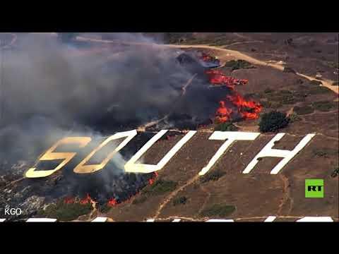 شاهد اندلاع حريق على جبل في سان فرانسيسكو