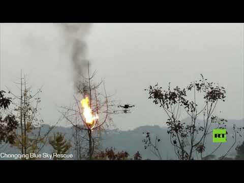 شاهد طائرة مسيرة تستخدم قاذف اللهب للقضاء على أعشاش الدبابير في الصين