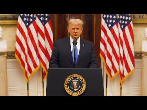 شاهد الرئيس الأميركي دونالد ترامب يلقي خطاب الوداع
