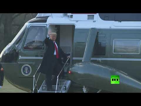 شاهد  الرئيس الأميركي دونالد ترامب يُغادر العاصمة واشنطن